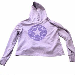 Girls cropped Converse purple hoodie